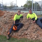 Workers rest on the woodchip pile