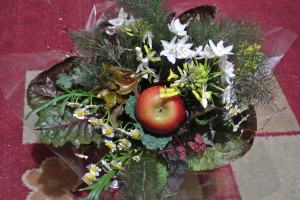 Kathi's Five Senses Bouquet made predominantly with edible leaves and fruit.