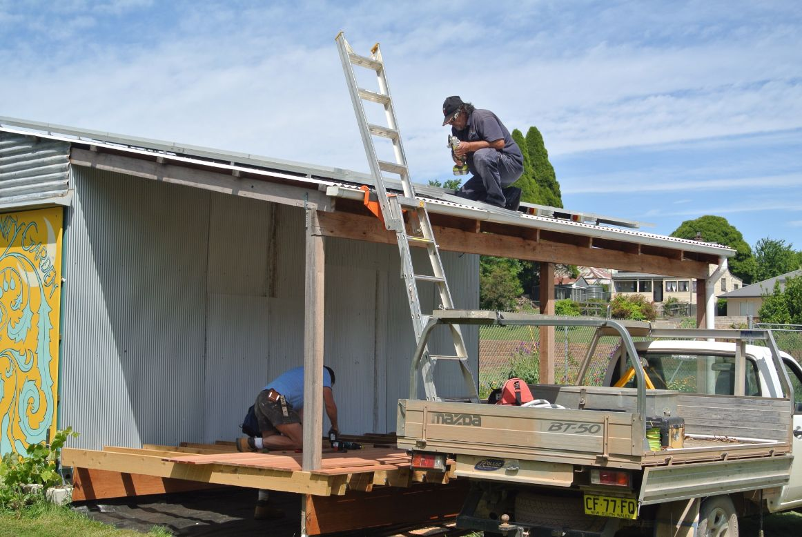 New Deck & Off Grid Solar-Men at Work!